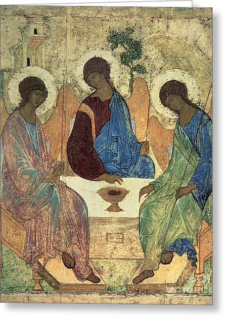 Icon Paintings Greeting Cards - The Holy Trinity Greeting Card by Andrei Rublev