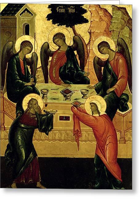 The Holy Trinity Greeting Card by Novgorod School