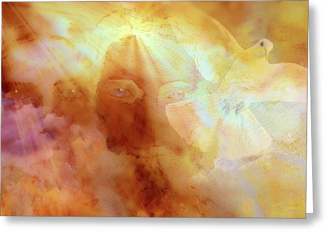 Valzart Greeting Cards - The Holy Trinity Greeting Card by Valerie Anne Kelly
