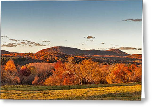 The Holyoke Range In Autumn Color From Mount Pollux. Greeting Card by Stephen Gingold