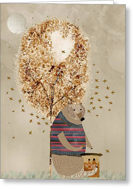 Quirky Greeting Cards - The Honey Tree Greeting Card by Bri Buckley