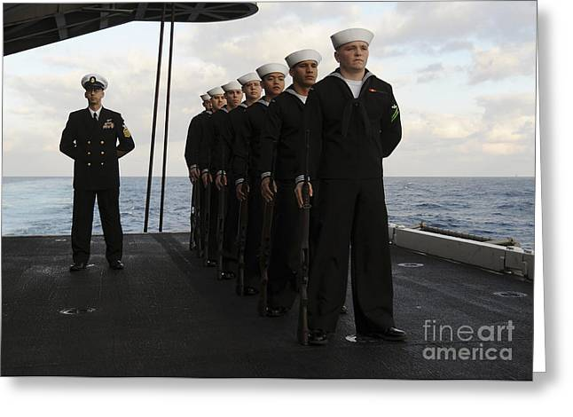 Men Of Honor Photographs Greeting Cards - The Honor Guard Stands At Parade Rest Greeting Card by Stocktrek Images