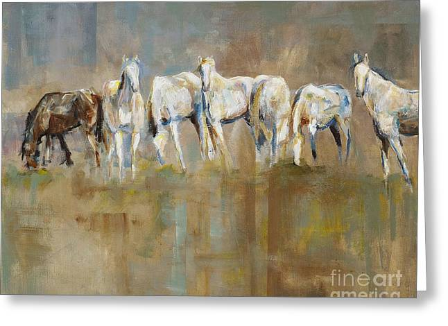 Horse Herd Greeting Cards - The Horizon Line Greeting Card by Frances Marino