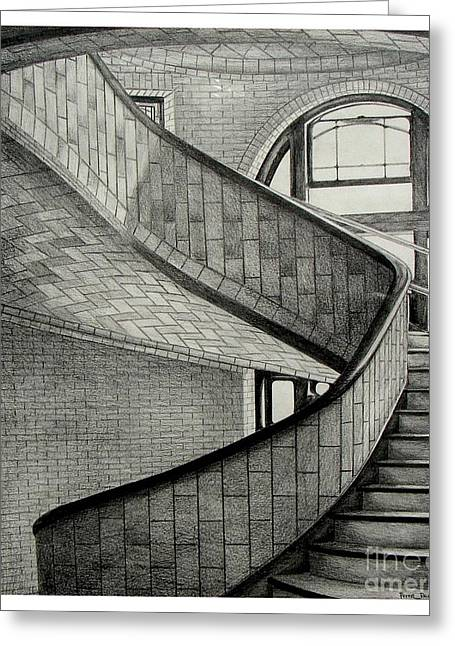 Melon Drawings Greeting Cards - The Hornbostle Stairway Greeting Card by Peter Paul Lividini