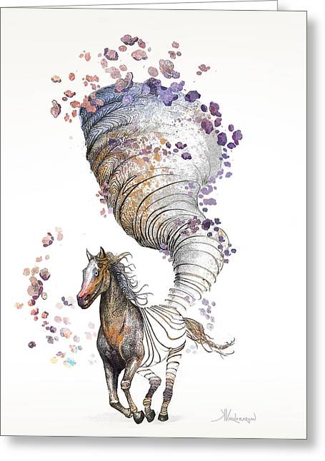 Pen And Ink Greeting Cards - The Horse Greeting Card by Kristina Vardazaryan