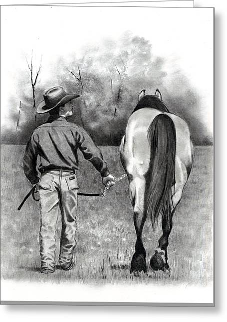 Joyce Geleynse Greeting Cards - The Horse Trainer No. 3 Greeting Card by Joyce Geleynse
