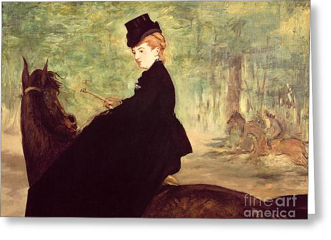 The Amazons Greeting Cards - The Horsewoman Greeting Card by Edouard Manet