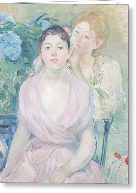 Berthe (1841-95) Greeting Cards - The Hortensia Greeting Card by Berthe Morisot