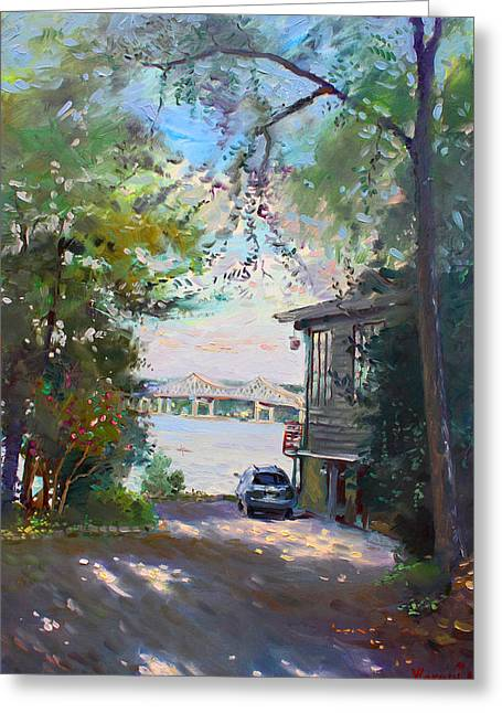 Hudson Paintings Greeting Cards - The House by the River Greeting Card by Ylli Haruni