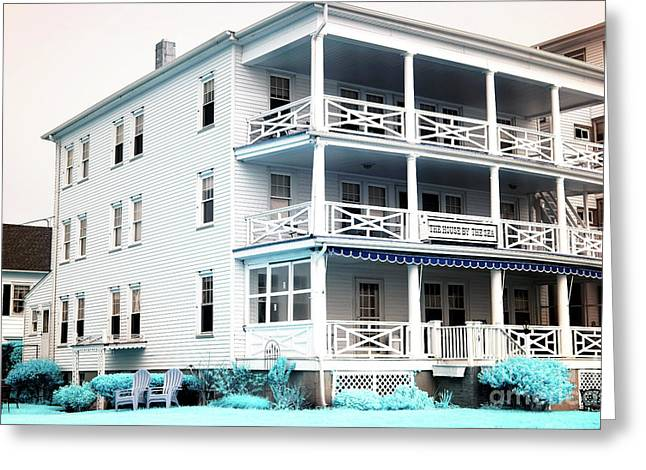 Down The Shore Greeting Cards - The House by the Sea infrared Greeting Card by John Rizzuto