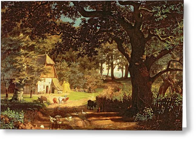 Oak Tree Paintings Greeting Cards - The House in the Woods Greeting Card by Albert Bierstadt