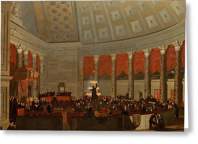 The House Of Representatives Greeting Card by Samuel Finley Breese Morse