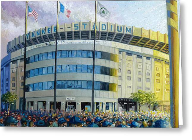 Bronx Bombers Greeting Cards - The House That Steinbrenner Wrecked Opening Day  Greeting Card by Gregg Hinlicky