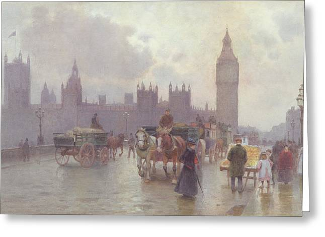 The Houses Of Parliament From Westminster Bridge Greeting Card by Alberto Pisa