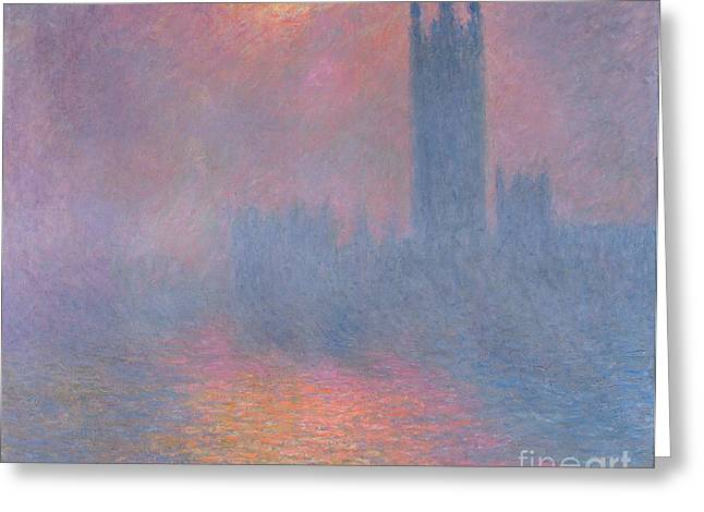 Breaking Through Greeting Cards - The Houses of Parliament London Greeting Card by Claude Monet