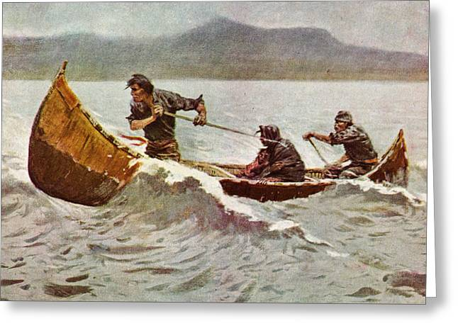 Recently Sold -  - Schooner Greeting Cards - The Howl of the Weather   detail 1907 Greeting Card by Frederick Remington
