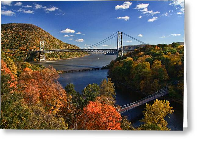 The Hudson River Valley In Autumn Greeting Card by June Marie Sobrito