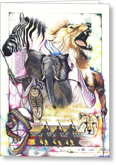 Black ist Drawings Greeting Cards - The Hunt Greeting Card by Anthony Burks Sr