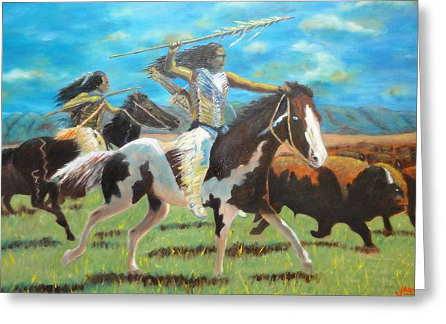 The Hunt Greeting Card by Charles Vaughn