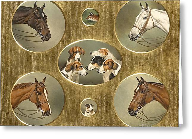 C.1870 Greeting Cards - The Hunt Greeting Card by Celestial Images