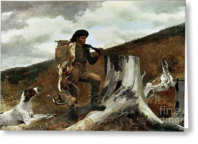 The Great Outdoors Greeting Cards - The Hunter and his Dogs Greeting Card by Winslow Homer