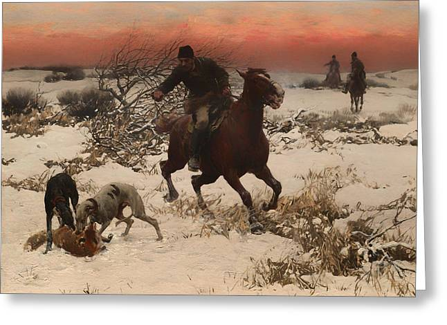 Wintry Greeting Cards - The Hunters Greeting Card by Alfred Wierusz-Kowalski
