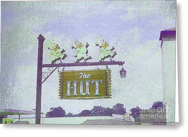 Tennessee Landmark Paintings Greeting Cards - The Hut BBQ Restaurant Sign Greeting Card by Jerry Grissom
