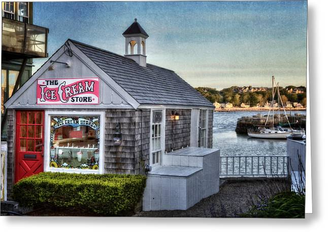 Wharf Greeting Cards - The Ice Cream Store Greeting Card by Susan Candelario