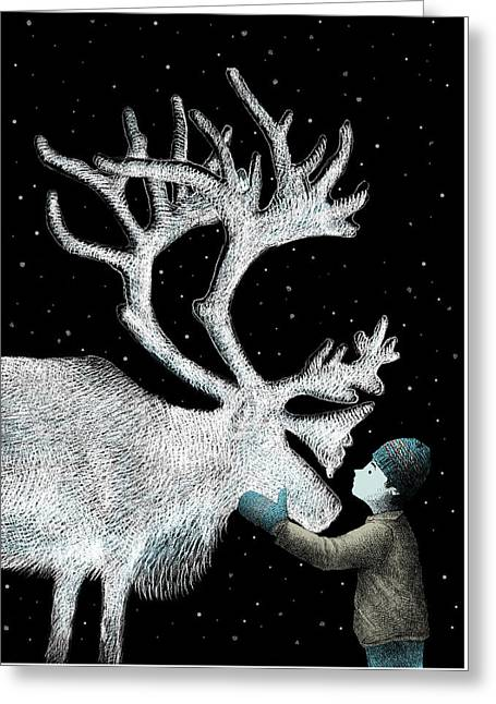 Winter Night Drawings Greeting Cards - The Ice Garden Greeting Card by Eric Fan