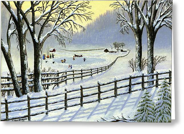 Ice-skating Greeting Cards - The Ice Skating Pond Greeting Card by Ellen Strope