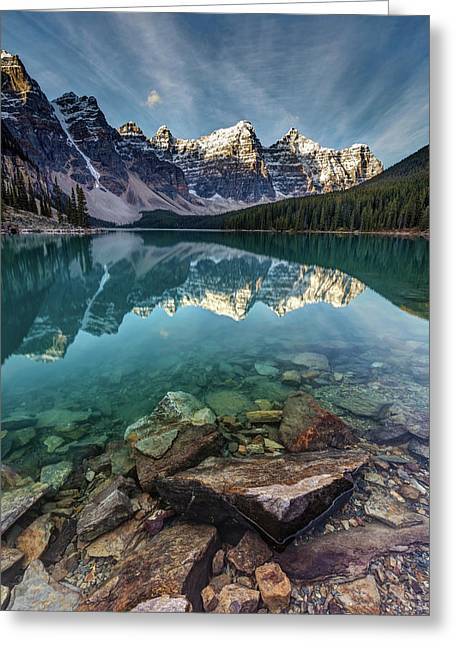 The Iconic Moraine Lake Greeting Card by Pierre Leclerc Photography