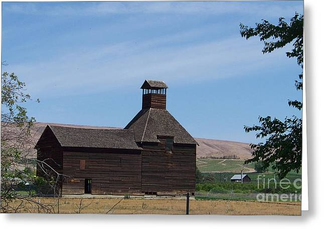 Wapato Photographs Greeting Cards - The Iconic Steeple Barn at Donald Greeting Card by Charles Robinson