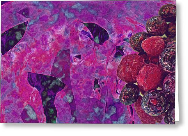 Abstract Digital Digital Greeting Cards - The Ides of Berries Greeting Card by Lynda Lehmann