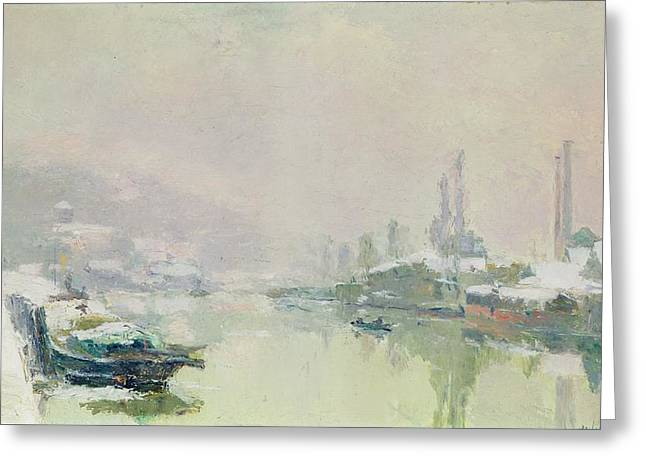 Charles River Paintings Greeting Cards - The Ile Lacroix under Snow Greeting Card by Albert Charles Lebourg