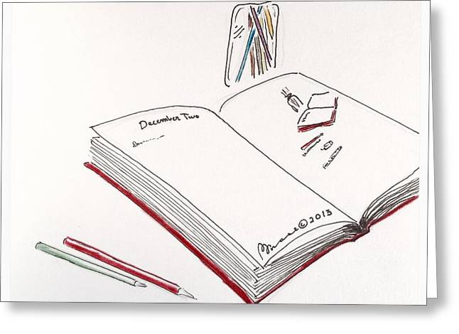 Pondering Drawings Greeting Cards - The Illustrated Journal  Greeting Card by Barbara Chase