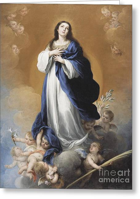 Biblical Greeting Card featuring the painting The Immaculate Conception  by Bartolome Esteban Murillo
