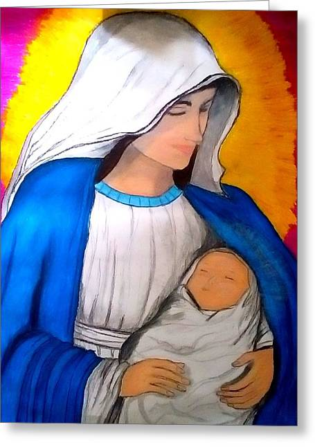 Pondering Pastels Greeting Cards - The Immaculate Conception Greeting Card by Eliza Paul