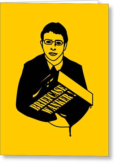 The Inbetweeners Briefcase Wanker Greeting Card by Paul Telling
