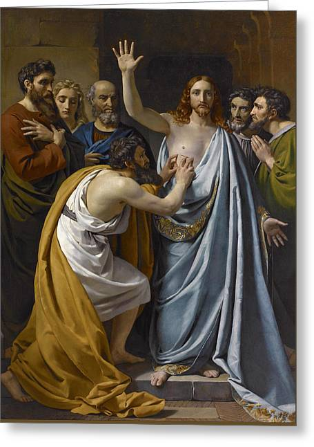 Incredulity Paintings Greeting Cards - The Incredulity of Saint Thomas Greeting Card by Francois-Joseph Navez