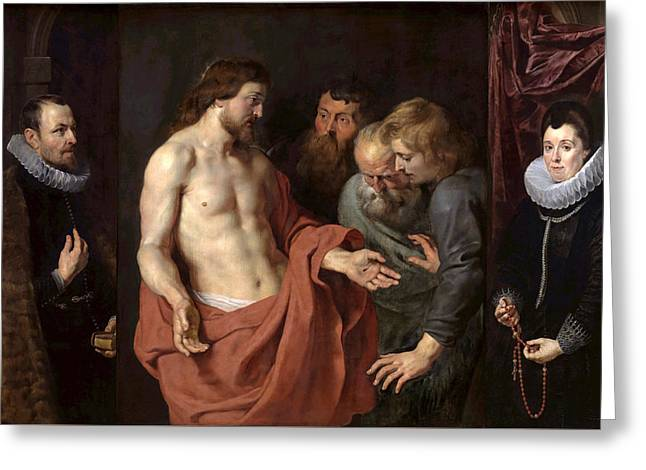 The Incredulity Of St. Thomas Greeting Cards - The Incredulity of St Thomas Greeting Card by Peter Paul Rubens