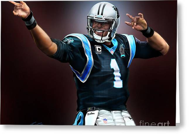 The Inevitable Cam Newton1 Greeting Card by Reggie Duffie