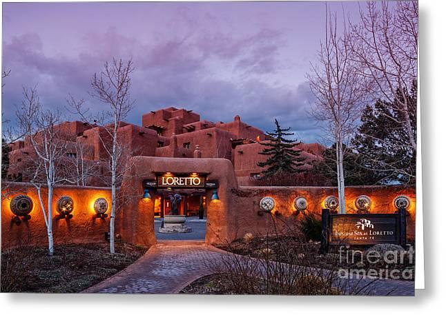 Sangre De Cristo Greeting Cards - The Inn at Loretto at Twilight - Santa Fe New Mexico Greeting Card by Silvio Ligutti