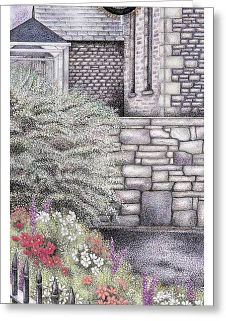 Fence Drawings Greeting Cards - The Institute Clock   Caton  Lancashire Greeting Card by Sandra Moore