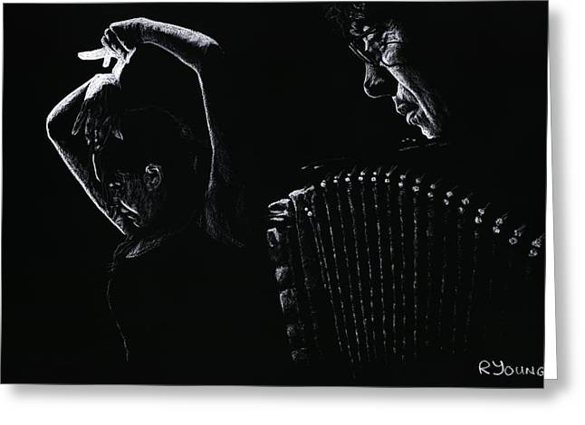 Romantic Pastels Greeting Cards - The Intensity of Flamenco Greeting Card by Richard Young