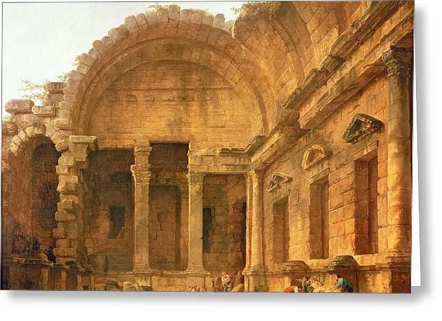 Robert; Hubert (1733-1808) Greeting Cards - The interior of the temple of Diana at Nimes Greeting Card by Hubert Robert