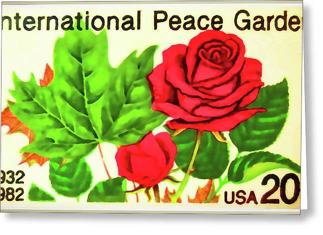 The International Peace Garden Stamp Greeting Card by Lanjee Chee