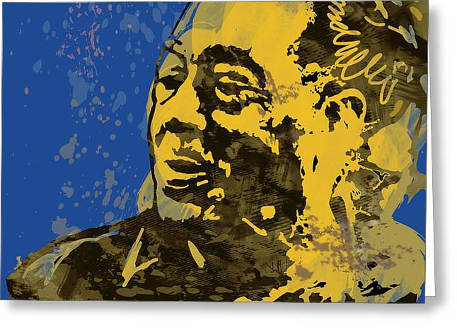 Labelled Mixed Media Greeting Cards - The Intimate Ellington Pop Stylised Art Sketch Poster Greeting Card by Kim Wang