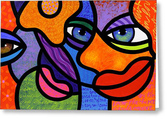 Abstract Faces Greeting Cards - The Introduction Greeting Card by Steven Scott