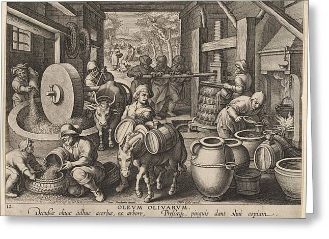 The Invention Of The Olive Oil Press Greeting Card by Hans Collaert