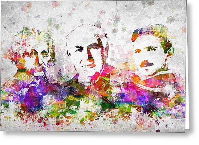 Albert Einstein Greeting Cards - The Inventors Greeting Card by Aged Pixel